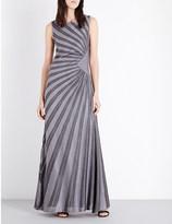 St. John Sunray metallic-knit gown