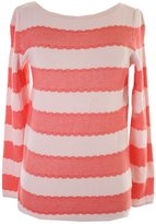 Tommy Hilfiger Women's Lace Style Stripe Sweater [M] [Chalk Coral]