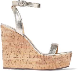 Schutz Eduarda Metallic Leather Wedge Sandals