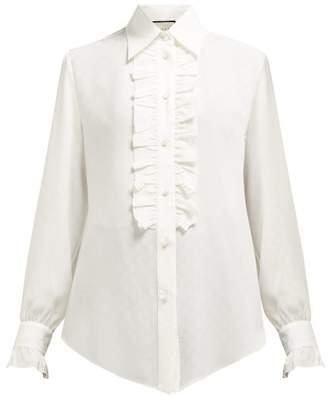 Gucci Gg-jacquard Silk-charmeuse Shirt - Womens - Ivory