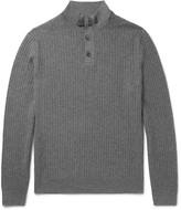 Ermenegildo Zegna - Suede-trimmed Cashmere And Silk-blend Half-zip Sweater