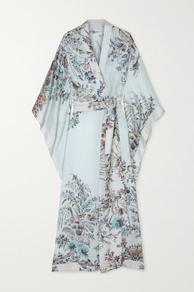 Carine Gilson Floral-print Silk-satin Robe - Blue