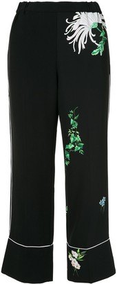 No.21 Floral-Print Straight Trousers
