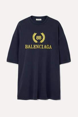 Balenciaga Oversized Printed Cotton-jersey T-shirt - Navy