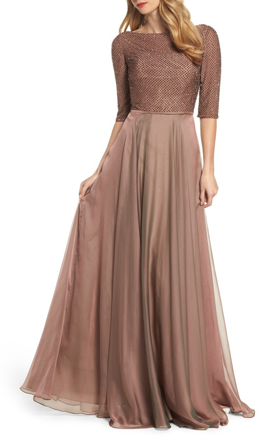 La Femme Embellished Bodice Tulle Ballgown