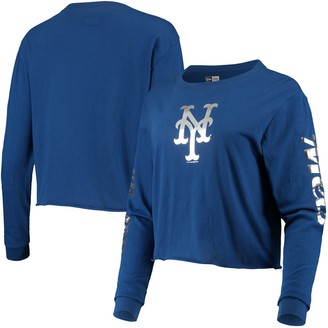 New Era Women's Royal New York Mets Baby Jersey Long Sleeve Cropped T-Shirt