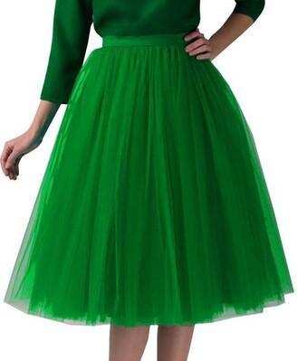 Harrystore Dresses Women's 6 Layer Short A Line Elastic Waistband Tutu Tulle Prom Princess Midi Dance Skirt Pleated Gauze Knee Length Skirt Adult Tutu Dancing Skirt Green
