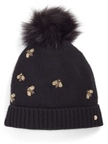 Ted Baker Women's Bee Embellished Beanie With Faux Fur Pom - Black