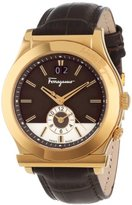 Salvatore Ferragamo Men's F62LDT5095 S497 1898 Gold Ion-Plated Watch with Brown Leather Band