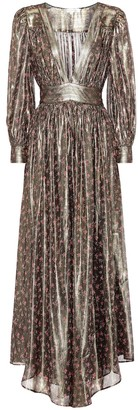 LoveShackFancy Cyrena metallic silk maxi dress