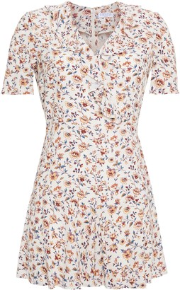 Claudie Pierlot Ruffled Floral-print Crepe Playsuit