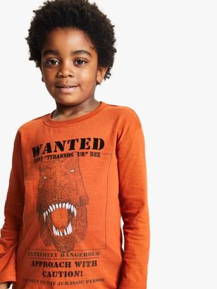 John Lewis & Partners Boys' Wanted Dinosaur T-Shirt, Orange