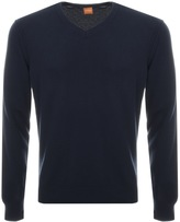 BOSS ORANGE Albono V Neck Jumper Navy