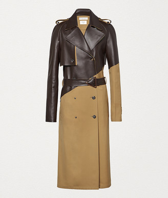 Bottega Veneta Trench Coat In Gabardine And Leather