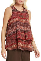 BCBGeneration Tiered Pleated Tapestry Print Tank