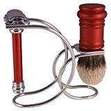 Merkur 3 Piece Safety Razor Shaving Set - Red