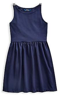 Ralph Lauren Girl's Bow Ponte A-Line Dress