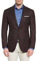 Kiton Plaid Cashmere Two-Button Sport Coat, Burgundy
