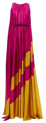 Roksanda Maluka Contrast-panel Silk-satin Gown - Womens - Pink Multi