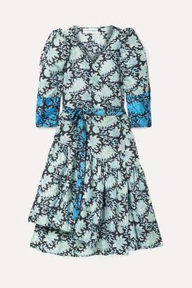 Apiece Apart Bougainvillea Printed Silk-satin Wrap Dress - Azure
