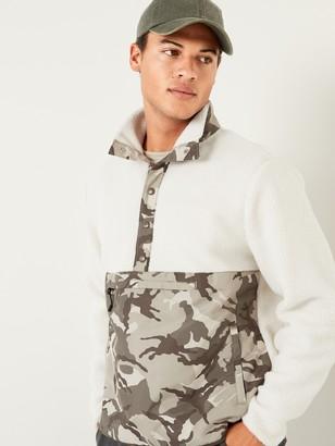 Old Navy Sherpa Camo-Block Mock-Neck Henley Sweatshirt for Men