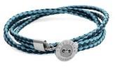 Tateossian Silver & Leather Double Wrap Bracelet.