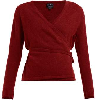 Pepper & Mayne Wrap Cashmere And Wool-blend Cardigan - Womens - Dark Red