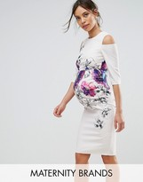Little Mistress Maternity Floral Placement Dress With Cold Shoulder
