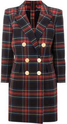 Balmain Tartan Double-Breasted Dress