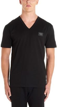 Dolce & Gabbana Logo Patch V-Neck T-Shirt