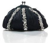 Santi Black Rhinestone Satin Change Purse Clutch Evening Handbag In Dust Bag