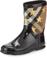 Burberry Ranmoor Metallic Star Rubber Rain Boot, Black, Youth