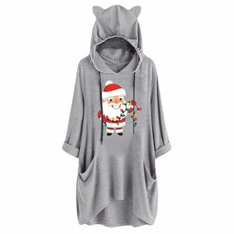 HCFKJ Women Dressing Gown Dresses Party Elegant Winter Ladies Fashion Casual Christmas Printed Cat Ear Loose Long Sleeve Pocket Hooded Dress Wedding Comfortable Gift Gray XL