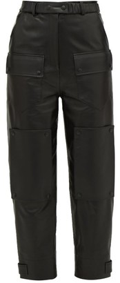 Symonds Pearmain - High-rise Leather Cargo Trousers - Black