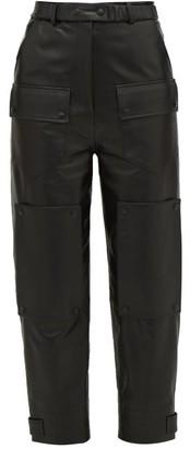 Symonds Pearmain - High-rise Leather Cargo Trousers - Womens - Black