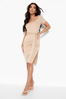boohoo Rib Square Neck Belted Midi Dress