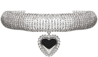 Alessandra Rich Embellished Heart Choker Necklace