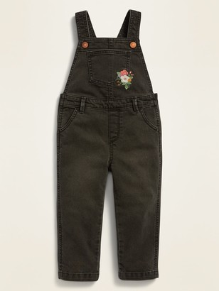 Old Navy Embroidered Black Jean Overalls for Toddler Girls
