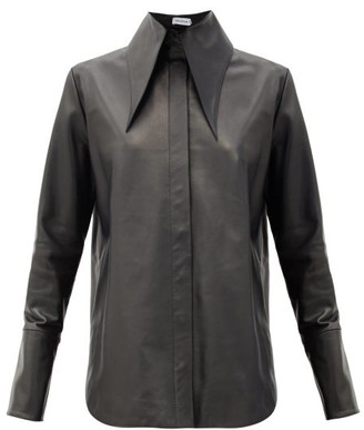 16Arlington Seymour Point-collar Leather Shirt - Black