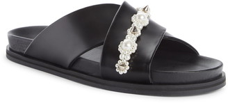 Simone Rocha Beaded Leather Slide Sandal