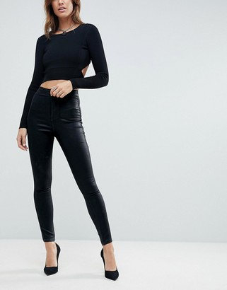 ASOS DESIGN Rivington high waisted denim jeggings in black coated