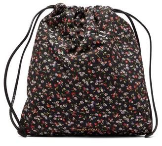 Miu Miu Floral-print Nylon Pouch - Womens - Black Multi