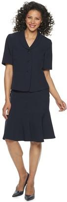 Le Suit Women's 3 Button Notch Collar Short Sleeve Crepe Skirt Suit
