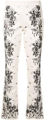 Giambattista Valli Floral-Embroidery Flared Trousers
