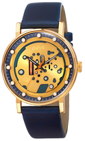 August Steiner Blue Leather & Skeleton Dial Watch, 40mm