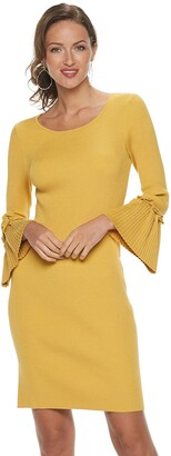 Nina Leonard Women's Bell Sleeve Ribbed Sweater Dress