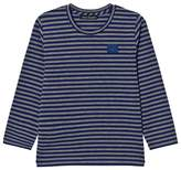 Acne Studios Grey Melange and Royal Blue Stripe Mini Napa Face T-Shirt