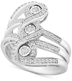 Macy's Diamond Three-Stone Statement Ring (1/4 ct. t.w.) in Sterling Silver