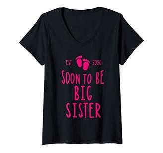 Womens Soon To Be Big Sister Est 2020 Foot Print Sis Pregnancy Gift V-Neck T-Shirt