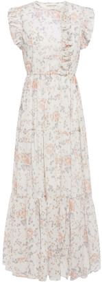 Maje Rosee Ruffle-trimmed Floral-print Cotton-voile Maxi Dress